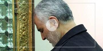 تصاویر کمتر دیده شده از حاج قاسم سلیمانی در حرم مطهر رضوی