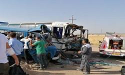 یک کشته و 13 مجروح در برخورد سرویس کارگران با اتوبوس در مأمونیه