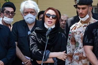 سخنرانی افسانه بایگان بازیگر، در مراسم خاکسپاری سیروس گرجستانی
