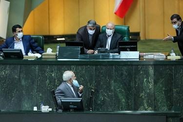 شروع سخنرانی دکتر محمدجواد ظریف وزیر امور خارجه در جلسه علنی مجلس/۱۵ تیر ۹۹
