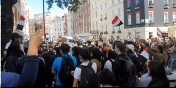 فیلم | تظاهرات در مرکز لندن علیه جنایات سعودیها در یمن