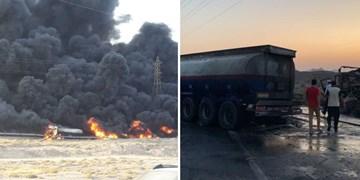 آتشسوزی مهیب تصادف دو تانکر سوخت در بندرخمیر+فیلم