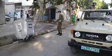 فیلم  گندزدایی و ضدعفونی معابر اصلی سنندج توسط سپاه