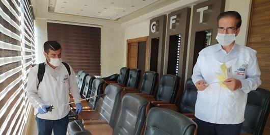 محل برگزاری دیدار ماشین سازی و پرسپولیس ضدعفونی شد+عکس