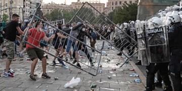 خسارت گسترده معترضان به شهر «بلگراد» صربستان