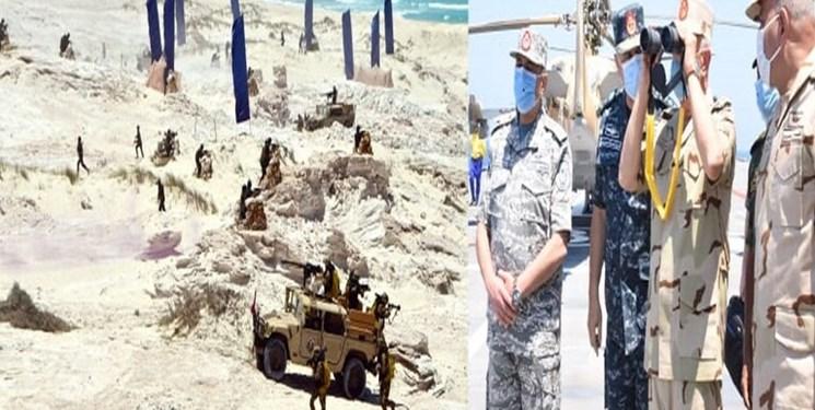 ارتش مصر در مرز با لیبی مانور نظامی بزرگی برگزار کرد
