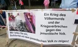 تجمع مخالفان جنگ یمن در برابر سفارت عربستان سعودی در برلین
