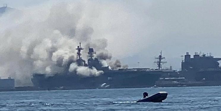 آتش سوزی در عرشه کشتی جنگی «یو اس اس بونهام ریچارد» نیروی دریایی آمریکا