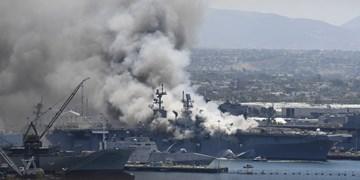 مجروح شدن 18 ملوان آمریکایی در آتش سوزی ناو «بونهام ریچارد»
