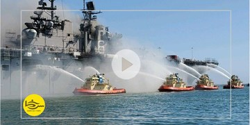 سرخط فارس|آتش به جان کشتی آمریکایی