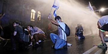 تظاهرات مقابل اقامتگاه نتانیاهو در قدس اشغالی/ استقبال پلیس از معترضان با توپ آبپاش