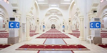 آمادهسازی مسجد نُمره در اطراف صحرای عرفات متناسب با شرایط کرونا+عکس