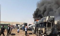 فیلم| حریق گسترده تانکرهای سوخت در کرمانشاه