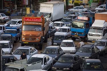 صف طولانی خودروها در مسیر برگشت به سمت تهران