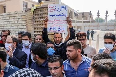 سید نظام موسوی نماینده مردم تهران در تجمع کارگران شرکت نیشکر هفت تپه در شهرستان شوش