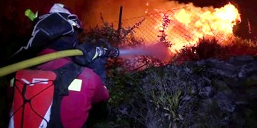 فیلم| حادثه آتشسوزی در مادرید اسپانیا