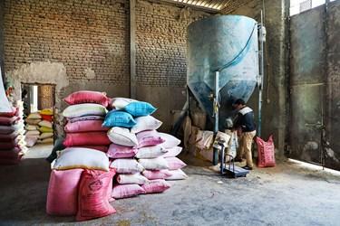 نورعلی جمالی یکی از کارگرها در بنگاه شبانه روزی علّافان که حدود ده سال است  در این بازار کار می کند. او  گندم ، ذرت، جو  و غیره  را داخل دستگاه آسیاب میریزد تا آرد شوند و  سپس آردها را در گونی های  50 کیلویی بسته بندی و روانه بازار می کند.
