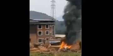 فیلم| اخبار تأیید نشده از سقوط یک جنگنده چینی