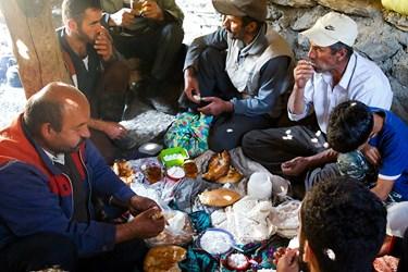 دامداران مناطق کوهستانی روستای ناتِر  شهر مرزن آباد / صرف صبحانه دامداران با غذاهاي ساده قبل از شروع  شستوشوی دام