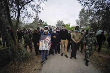 حضور امیر دانش جانشین دانشگاه افسری امام علی در مراسم تشییع شهید سهیلی فرد در روستای سید میران گرگان