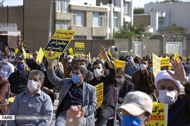 اجتماع مردم اردبیل در اعتراض به هتک حرمت به ساحت مقدس پیامبر اعظم(ص)