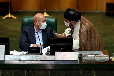 محمدباقر قالیباف رئیس مجلس شورای اسلامی در جایگاه هیئت رئیسه مجلس