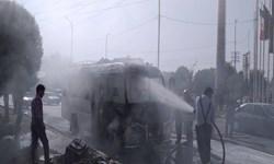 خودروی حامل کارکنان مرکز بهداشت شادگان دچار آتشسوزی شد