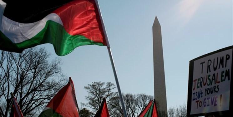 تجمع مقابل کاخ سفید در اعتراض به توافق سازش رژیم صهیونیستی با امارات و بحرین
