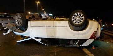 ۴ مصدوم در برخورد ۴ خودرو در اتوبان تهران قم
