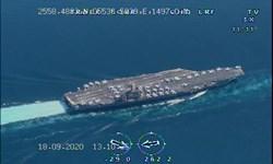 فیلم| انتشار برای اولین بار/ رصد ناو هواپیمابر نیمیتز آمریکا توسط پهپادهای سپاه