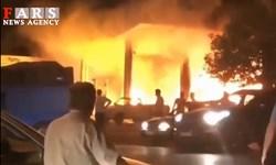 فیلم| آتش سوزی پمپ بنزین تاکستان