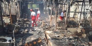 آتش سوزی بازارچه دیلم بدون تلفات جانی مهار شد+عکس و فیلم