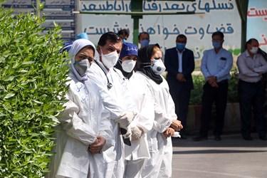 پیکر پاک پزشک مدافع سلامت شهید عبدالله عسکری با جضور همکاران و جمعی از کارکنان دانشگاه علوم پزشکی اهواز در بیمارستان رازی اهواز برگزار شد.