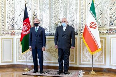 دیدار  عبدالله عبدالله رییس شورای عالی صلح افغانستان و محمد جواد ظریف وزیر امور خارجه