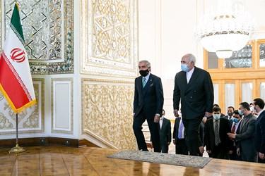 ورود عبدالله عبدالله رییس شورای عالی صلح افغانستان و محمد جواد ظریف وزیر امور خارجه به محل دیدار