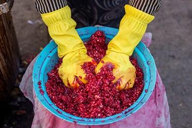 دانههای له شده را برروی صافی میریزند و با فشار دست، آب آن را خارج میکنند