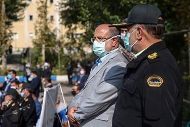 حضور علیرضا زالی فرمانده ستاد مقابله با کرونا در مراسم اجرای طرح مشترک امنیت سلامت محور در سطح شهر تهران