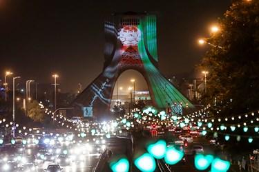 اجرای نورپردازی برج آزادی برای ابراز همدردی با مردم افغانستان/ خیابان آزادی