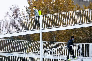 پلهای عابر پیاده یکی از مکانهای انتقال کروناست که میتوان با ضدعفونی از این انتقال جلوگیری کرد.