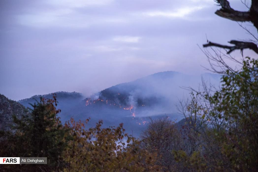 خشک بودن جنگل یکی از علت های گسترش آتش به دامنه های جنوبی می باشد