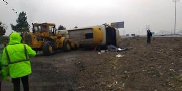 واژگونی اتوبوس پارس آباد در اتوبان کرج-قزوین