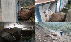 تخریب یک باب مدرسه کانکسی در آستارا در اثر رانش کوه