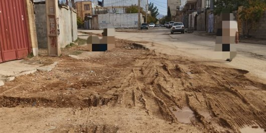 کندهکاری شرکت گاز و بی تفاوتی شهرداری یاسوج در خیابان شهید خوید شهرک امام حسین(ع)