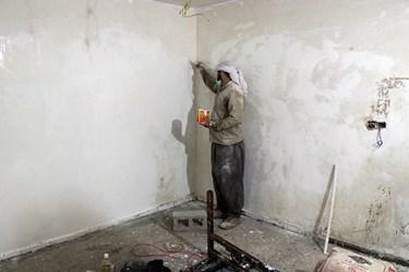 ۴۰۰ نیروی جهادی برای بازسازی خانه مستضعفین در کوی شهید سلیمانی اهواز مستقر هستند