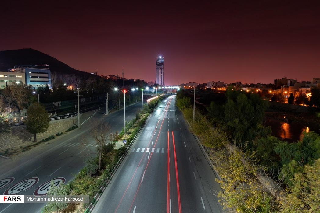 بلوار چمران، شیراز پس از ممنوعیت عبور و مرور ساعت 21