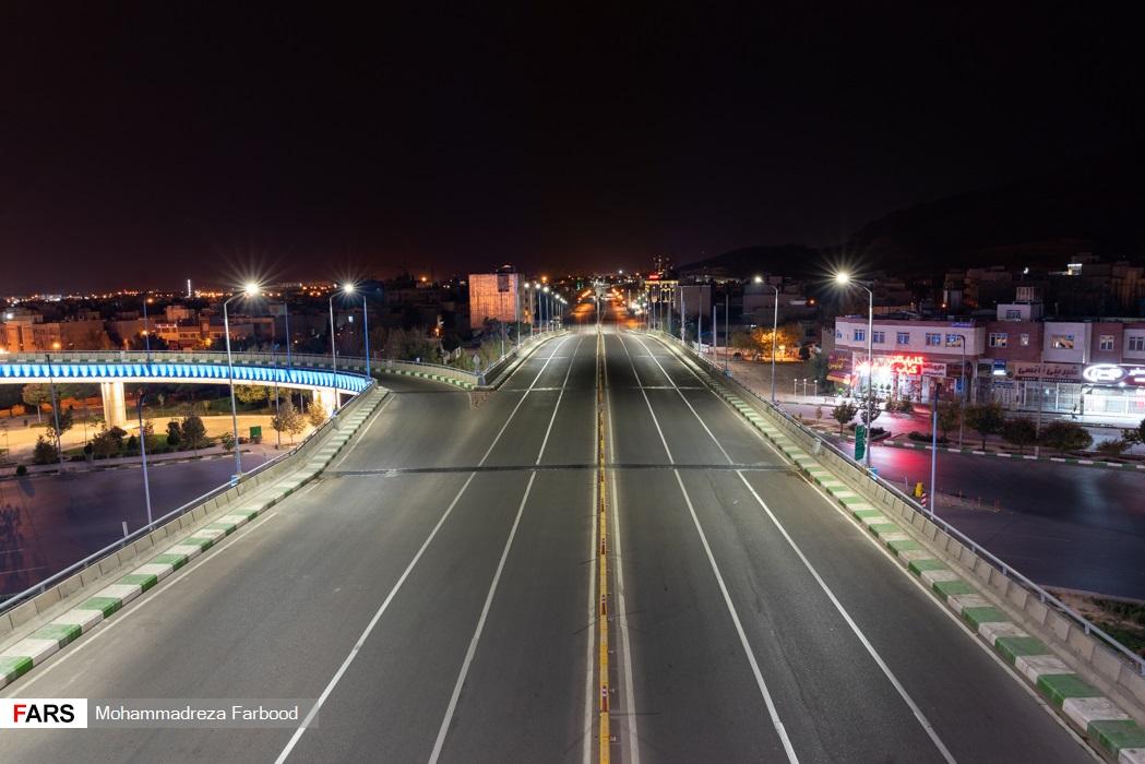 پل معلم، شیراز به سمت همت جنوبی پس از ممنوعیت عبور و مرور ساعت 21