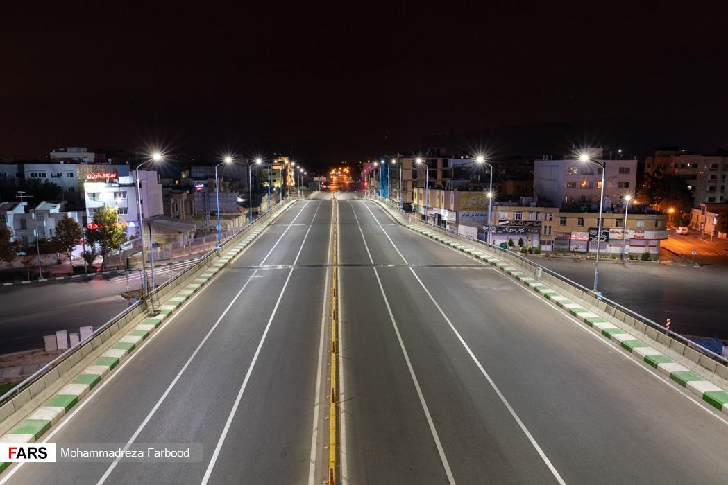 پل معلم، شیراز به سمت همت شمالی پس از ممنوعیت عبور و مرور ساعت 21
