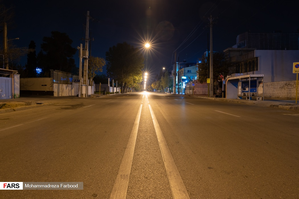 خیابان قصردشت، شیراز پس از ممنوعیت عبور و مرور ساعت 21