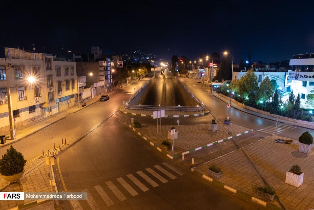 خیابان زرگری، شیراز پس از ممنوعیت عبور و مرور ساعت 21