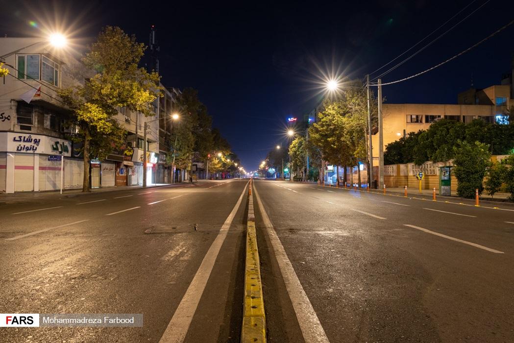 خیابان ملاصدرا، شیراز پس از ممنوعیت عبور و مرور ساعت 21